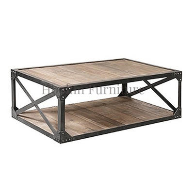 French Vintage Industrial oak Coffee Table for Living Room HL408