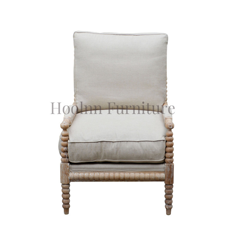 French oak wood linen upholstered armchair living room bobbin chair