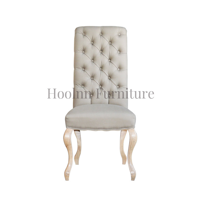 French Style Linen Buttoned Dining Chairs P0070-1