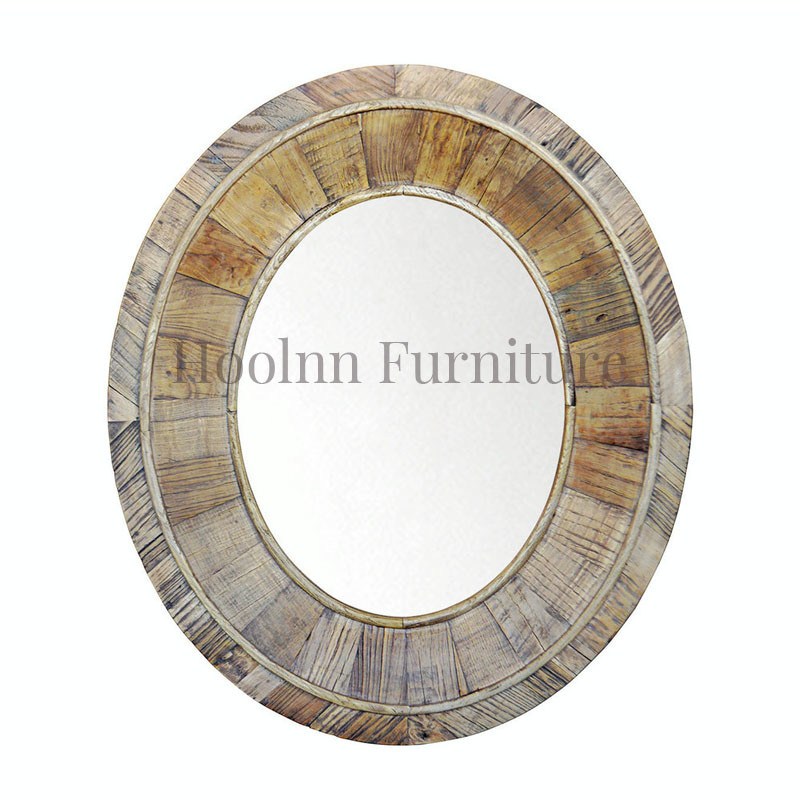 Salvaged Oval Pieced Pia Recycled Wood Wall Mirror HL110
