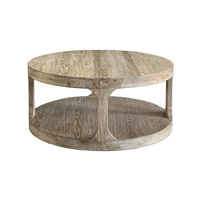 HL387 French-style Coffee Table Hand Carved Home Furniture Weathered Oak Wooden Bar