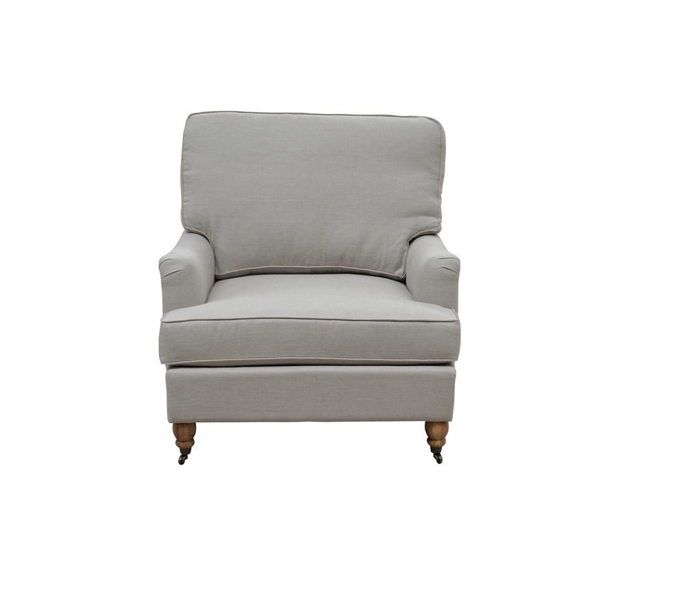 English Roll Wood Fabric Arm Chair