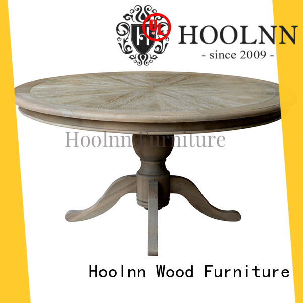 HOOLNN durable round wood dining table factory in China for wooden furniture industry