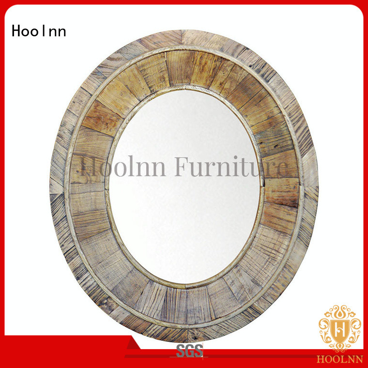 HOOLNN customize round mirror wood frame for sale cheap for wall hanging