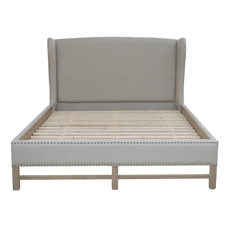 Hign-end Natural Linen King Size Bed
