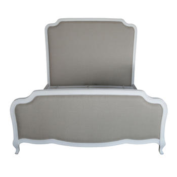French Style Antique Design High Headboard Wooden Upholstered Fabric Adult Single Bed HL159-106