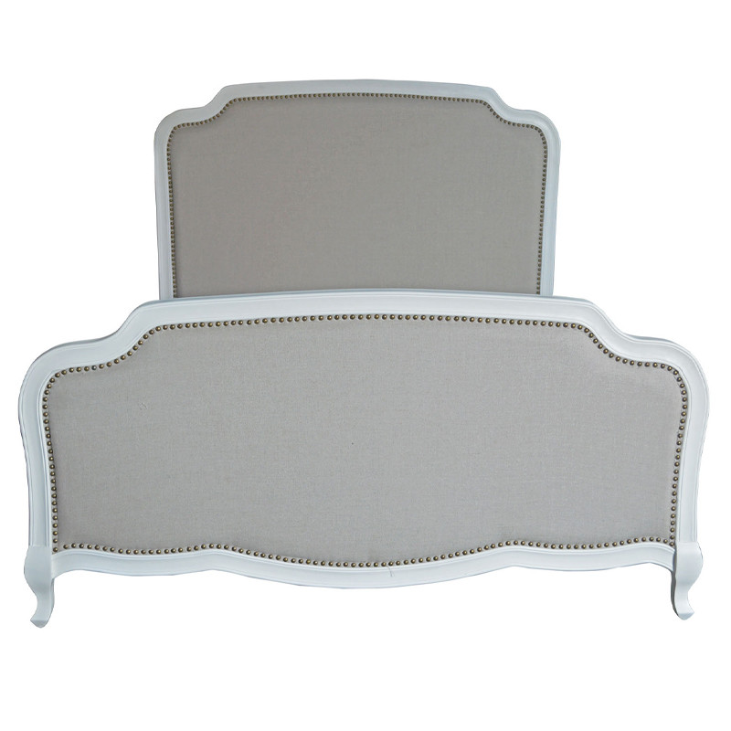French Style Antique Design High Headboard Wooden Upholstered Fabric Adult Single Bed HL159-138