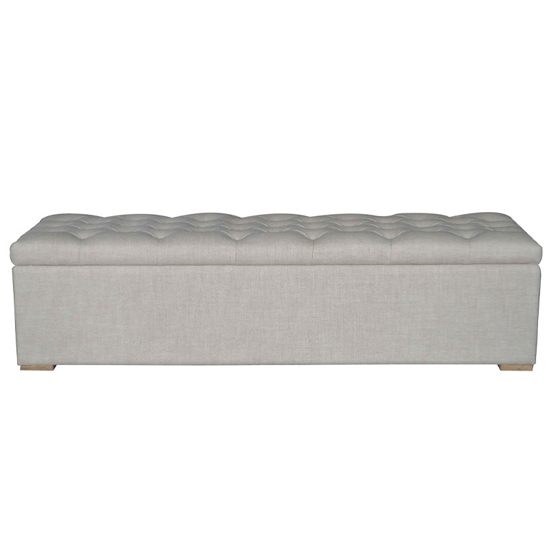 French-style Antique Wooden Upholstered Tufted Bench HL278