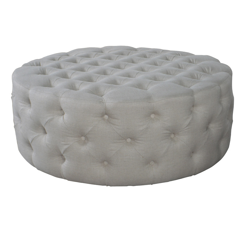 Antique Round Tufted Ottoman HL254
