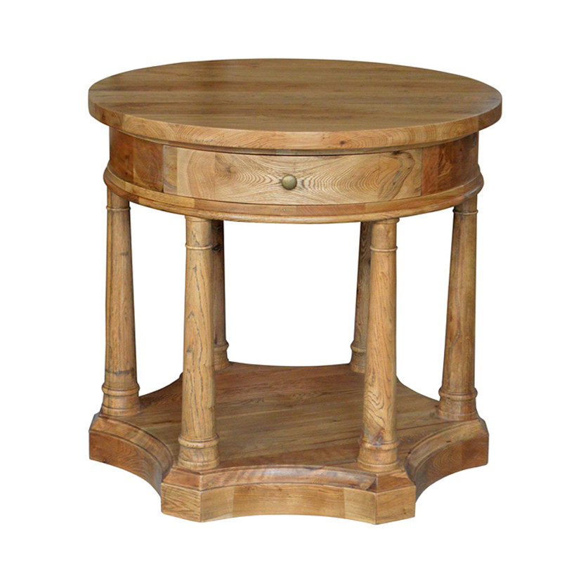 Round Oak Bedside Table Quality Craftmanship French style