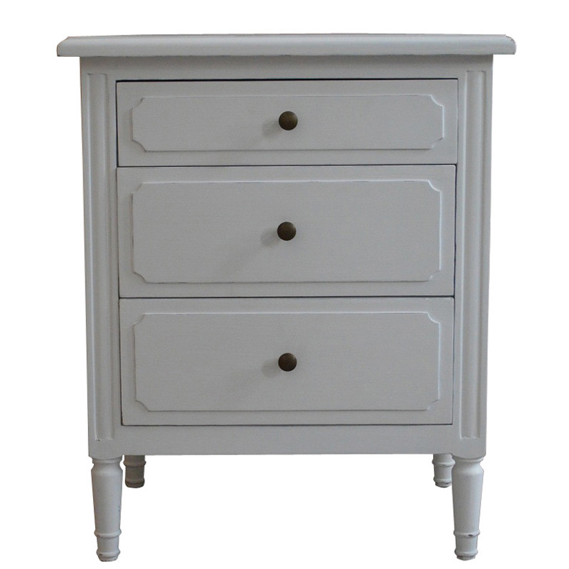 White Bedside Table-3 Drawer French style