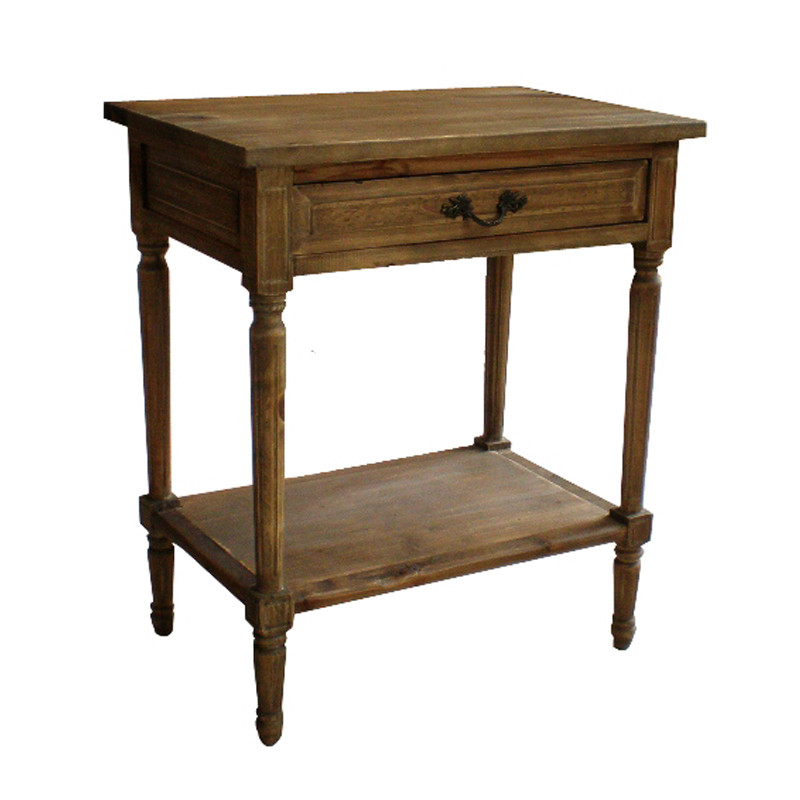 French Country Industrial Style Recycled wood Besides Table-1 Drawer