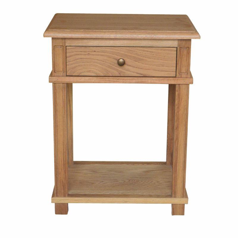 Oak Bedside Table with one Drawer French style