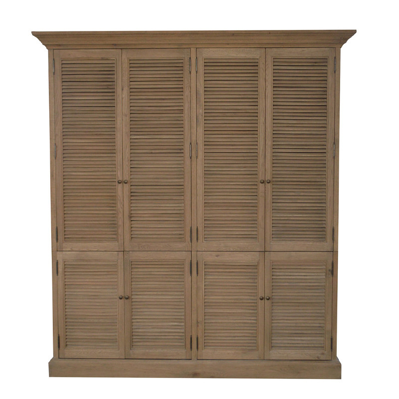 French Shutter partition Double Wardrobes Armoire Wooden Almirah Cabinet HL716