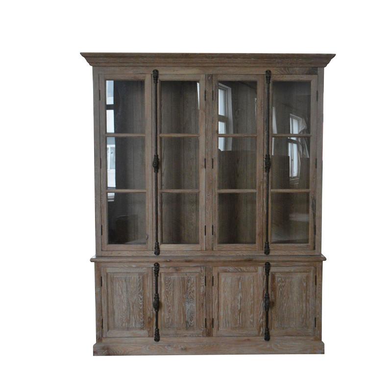 White Washed Oak Glazed Cabinet W5875