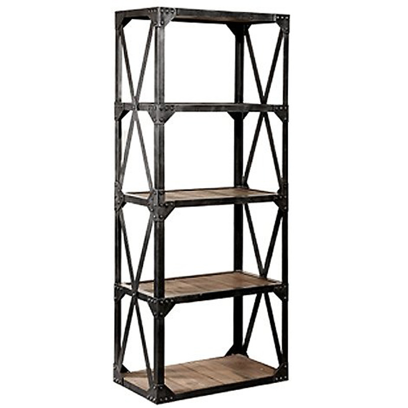 HL405 Solid Wood And Metal Bookshelf Vintage Industrial Bookcase