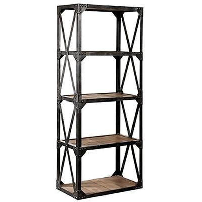 HL405 Solid Wood And Metal Bookshelf Vintage Industrial Bookcase