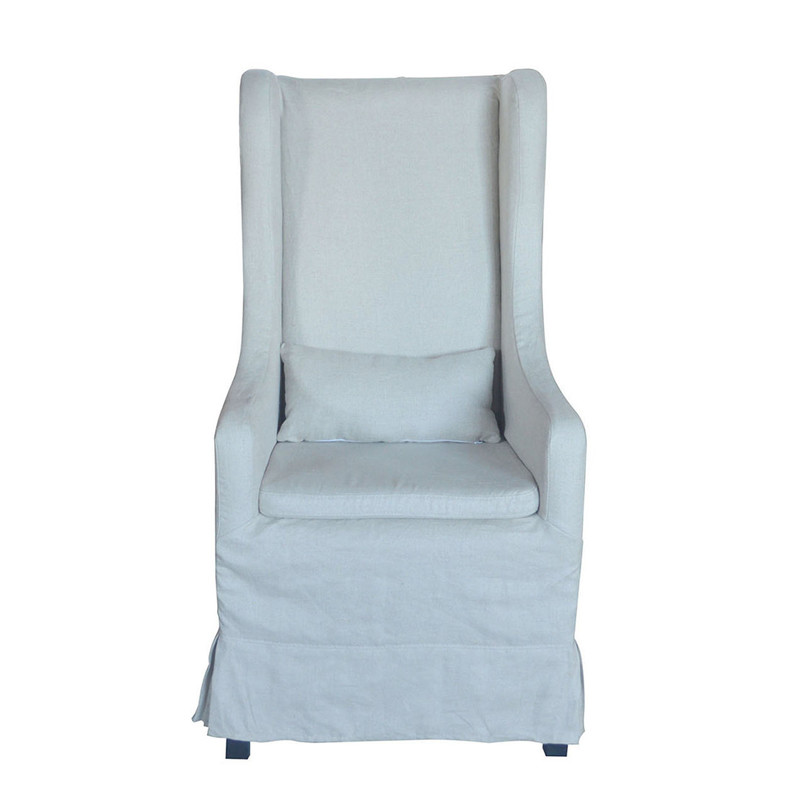 French-style Dining Chair Upholstered with White Linen P0080