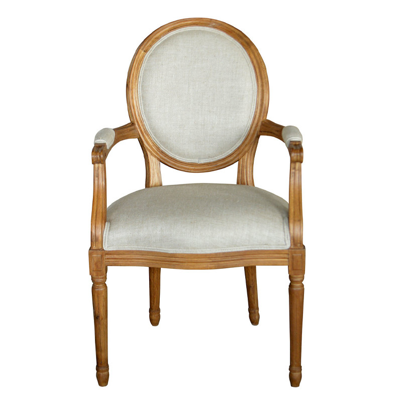 P2201 Vintage French Round Back Upholstered White Wooden Armchair Armrest Dining Chair