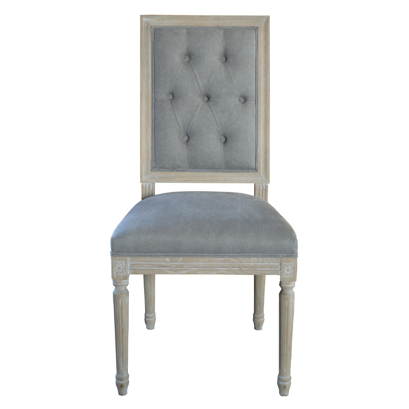 Vintage French Square Upholstered Side Chair P2199