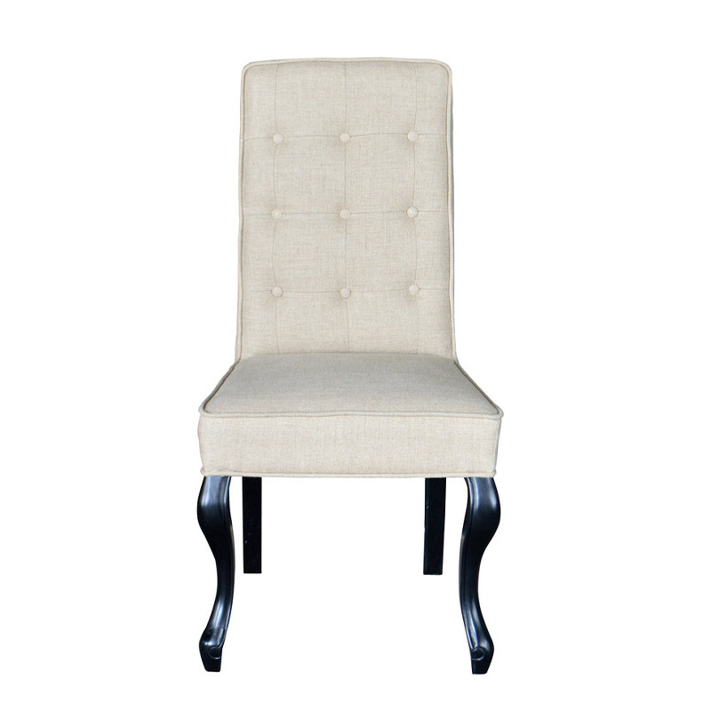 Natural Linen Tufted Dining Chair