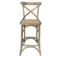 ED-018 French-Style Wood Cross back Bar Chair