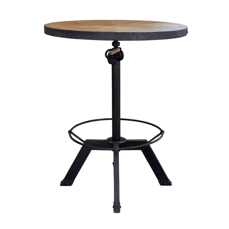 HL383 Adjustable Round Outdoor French Antique Industrial Vintage Furniture Bar Table