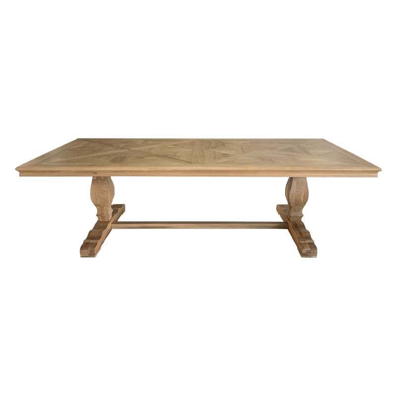 french oak Parquet Trestle Dining Table T159-260