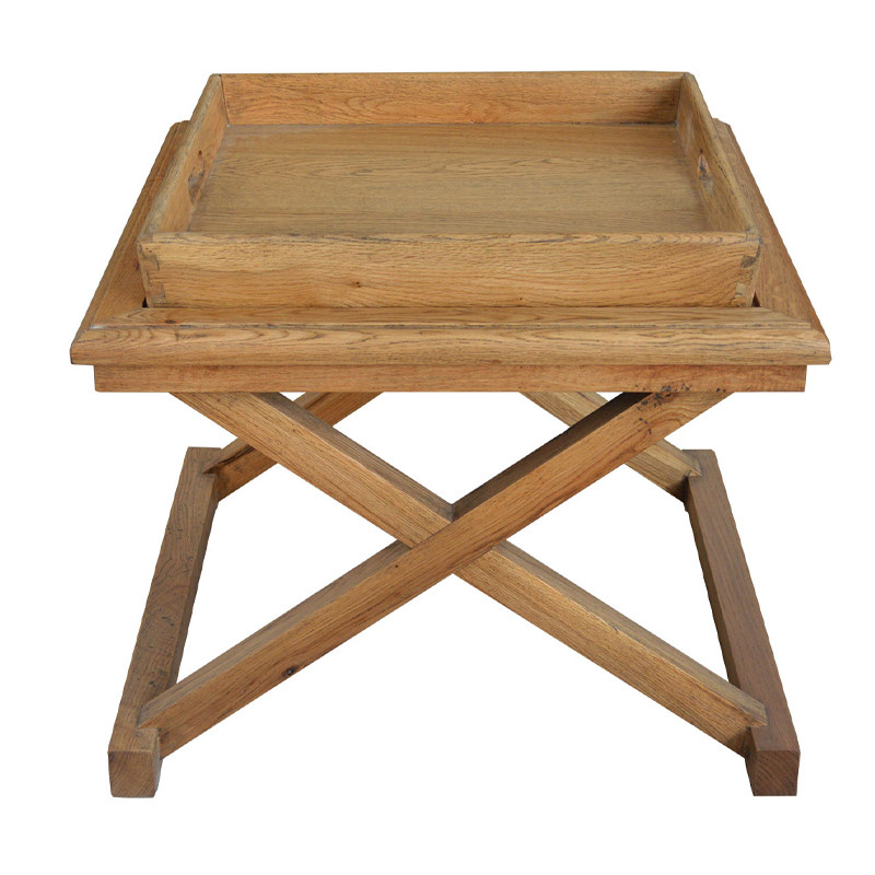 French Country Brown Oak Drifted Side Table HL109-60