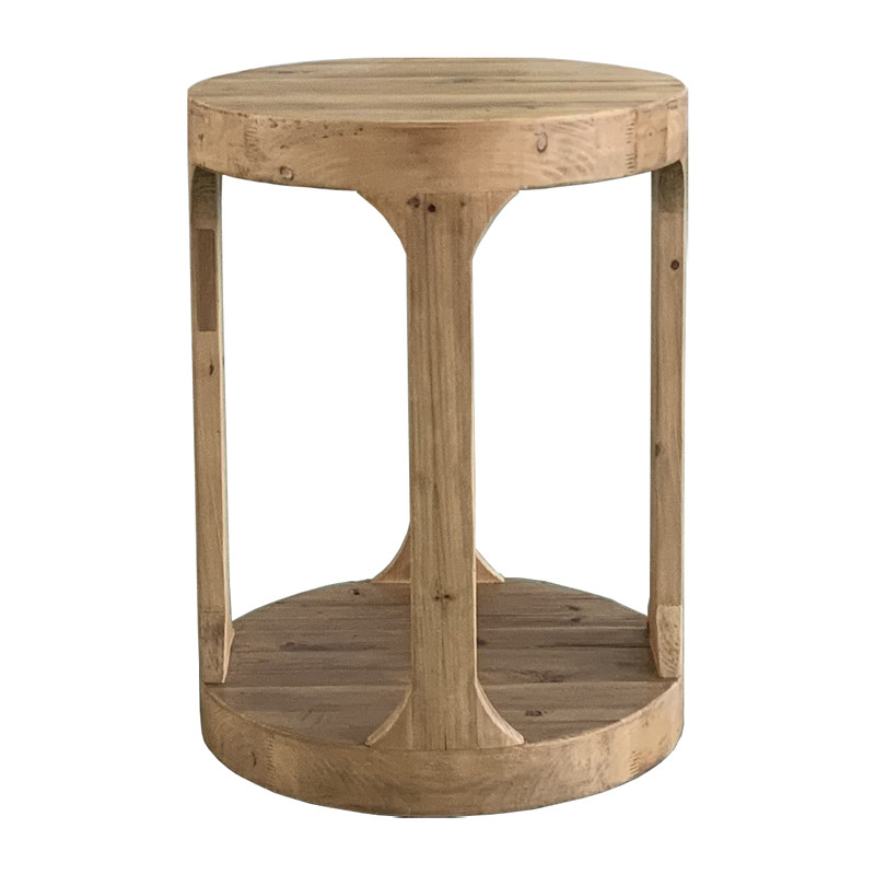 French Vintage White Washed Oak Wood Side Table HL388