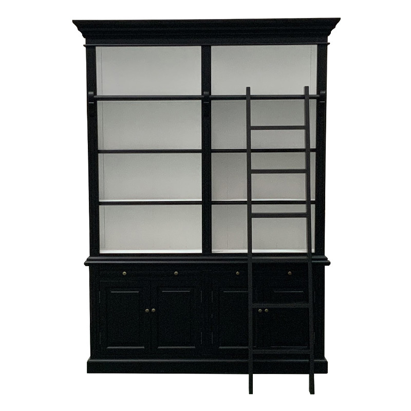 Solid Wood Bookcases for living room with a ladder P1804B