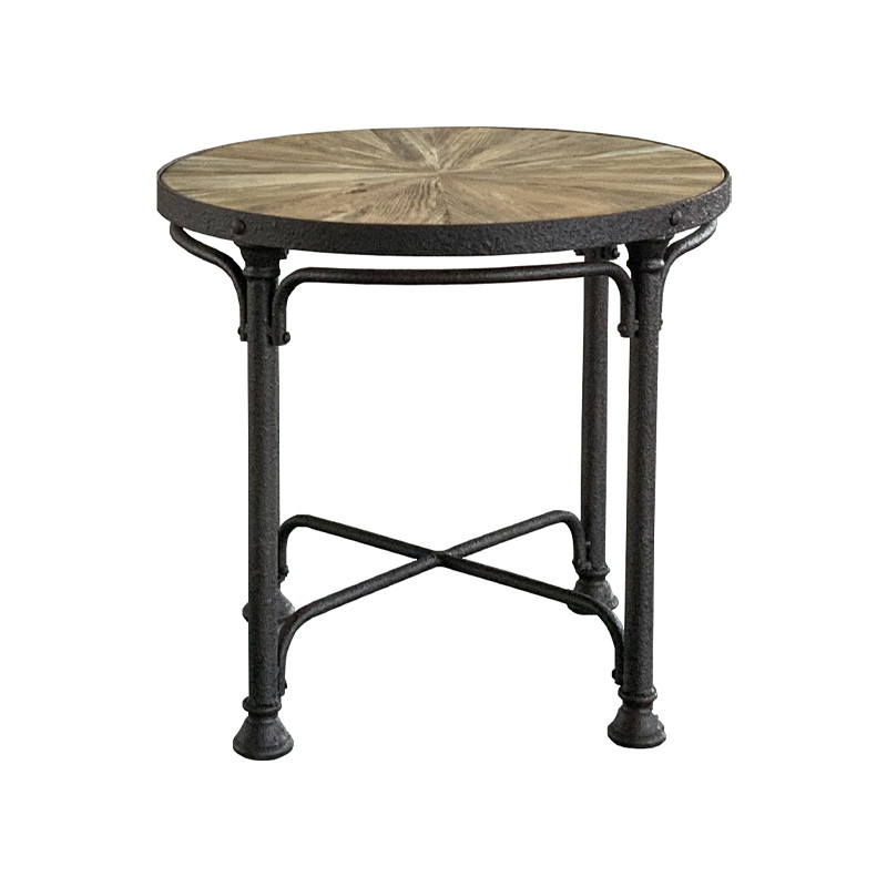 French industrial side table with recycle elm top HL401