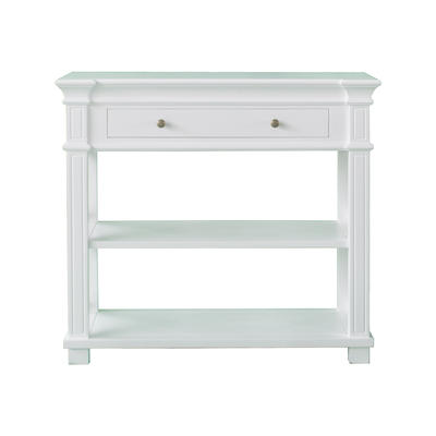 French Costal White Solid Console Table With Drawer
