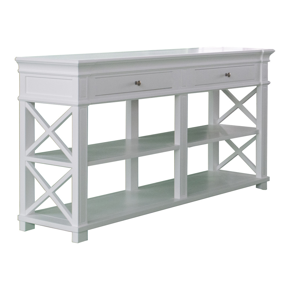 French Costal White Console Table With Drawer